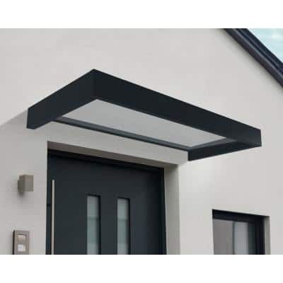 7 ft. 1 in. Sophia 2150 Door Canopy Awning 7 in. H x 3 ft. 1 in. D in Gray and Clear
