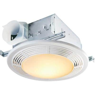 White 100 CFM Ceiling Mount Bathroom Exhaust Fan with Light
