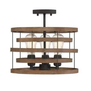 3 Light Natural Walnut with Black Accents Convertible Semi-Flush