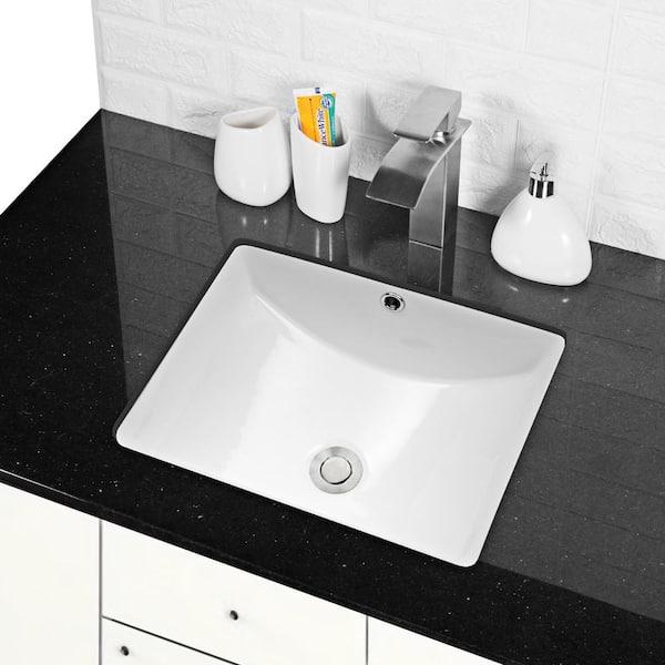 Boyel Living 18 In X 14 In Vessel Sink Rectangle Undermount Bathroom Sink White Sl Luf1814 The Home Depot