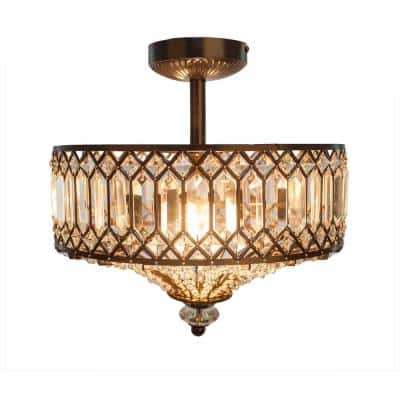 2-Light Black Semi-Flush Mount Light with Tiered Jeweled Glass