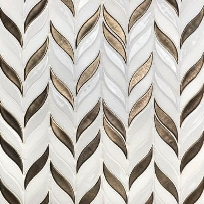Delphi Sprig Metallic Copper 11.75 in. x 10.5 in. Marble and Ceramic Mosaic Tile (0.86 sq. ft./Sheet)