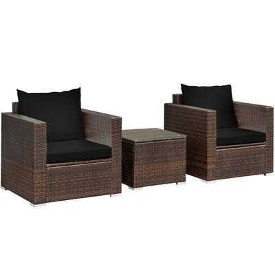 3-Piece Patio Rattan Furniture Set Conversation Sofa with Black Cushions