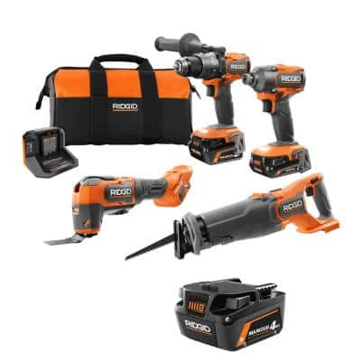 18V Brushless Cordless 4-Tool Combo Kit with (2) 4.0 Ah and (1) 2.0 Ah MAX Output Batteries, 18V Charger, and Tool Bag