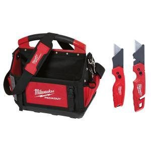 15 in. PACKOUT Tote with Fastback Folding Utility Knife Set (2-Pack)