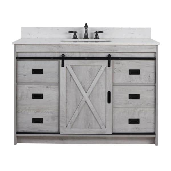 D Bath Vanity In White Wash, 48 White Washed Bathroom Vanity