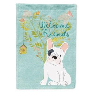 Caroline S Treasures 11 In X 15 1 2 In Polyester Welcome Friends White French Bulldog 2 Sided 2 Ply Garden Flag Bb7635gf The Home Depot