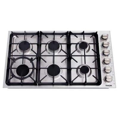 36 in. Drop-in Gas Cooktop in Stainless Steel