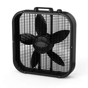 20 in. 3 Speed Black Box Fan with Save-Smart Technology for Energy Efficiency