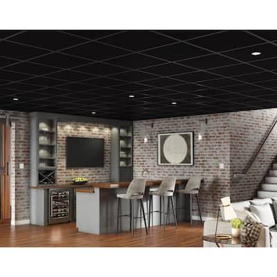 Easy Elegance Flat Black 2 ft. x 2 ft. PVC Square Edge Lay-in Ceiling Tile ( 40 sq. ft. /case)
