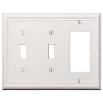 Ascher 3 Gang 2-Toggle and 1-Rocker Steel Wall Plate - White
