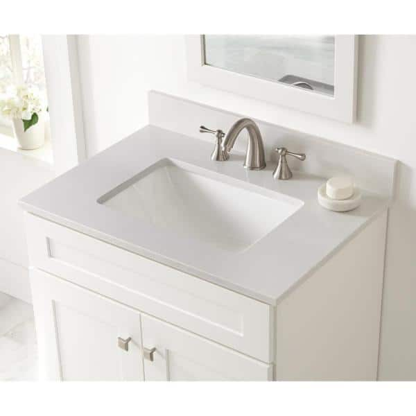 Home Decorators Collection 31 In W X 22 In D Engineered Marble Vanity Top In Snowstorm With White Single Trough Sink 31203 The Home Depot