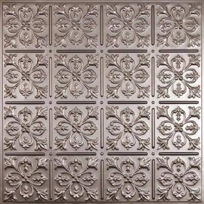 Fleur-de-lis Faux Tin 2 ft. x 2 ft. Lay-in or Glue-up Ceiling Panel (Case of 6)