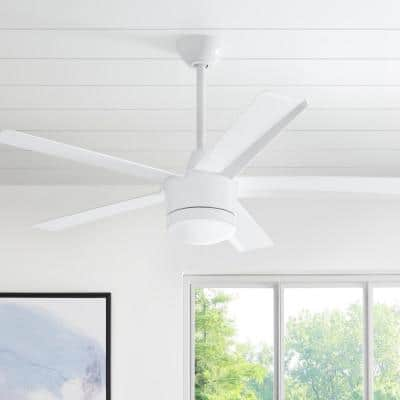 Merwry 52 in. Integrated LED Indoor White Ceiling Fan with Light Kit and Remote Control