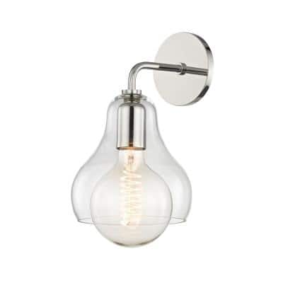 Sadie 1-Light Polished Nickel Large Wall Sconce with Clear Glass