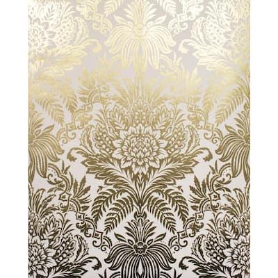 Bernadette Gold Damask Vinyl Peelable Wallpaper (Covers 56.4 sq. ft.)