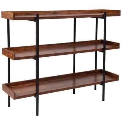 35 in. Brown/Black Metal 3-shelf Standard Bookcase with Open Back