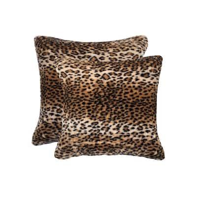 Belton El Paso Leopard 18 in. x 18 in. Faux Sheepskin Decorative Pillow (Set of 2)