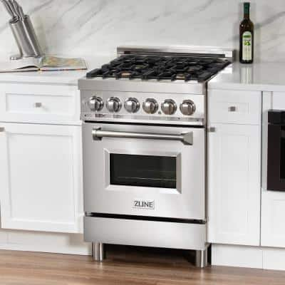 ZLINE 24in. 2.8 cu. ft. Dual Fuel Range with Gas Stove and Electric Oven in Stainless Steel with Brass Burners