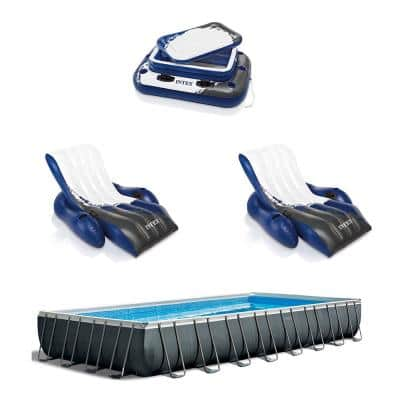 Rectangular Swimming Pool Set with 2 Inflatable Loungers and Floating Cooler
