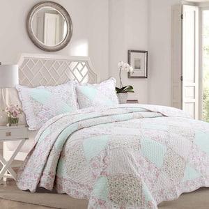 Pastel Floral Rose Garden 3-Piece Soft Pink Peach Green Ruffle Patchwork Cotton King Quilt Bedding Set