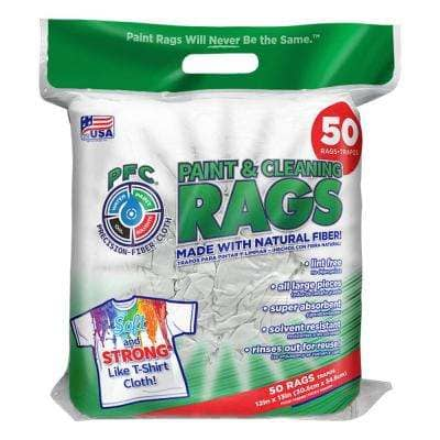 12 in. x 13.6 in. Precision-Fiber Cloth Paint and Cleaning Rags (50-Count)