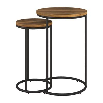 Fort Worth 15 in. Brown Round Wood Grain End Table with 2-Pieces
