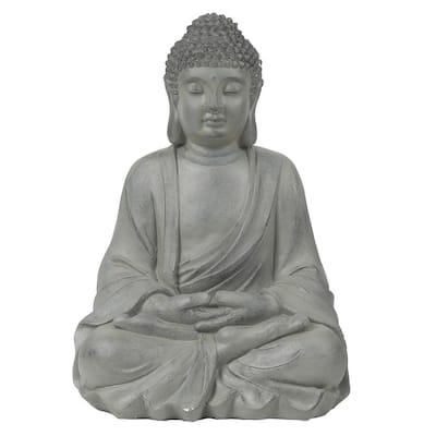 Gray MgO Enlightened Sitting Buddha Garden Statue