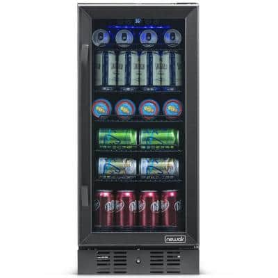 Single Zone 15 in. 96 (12 oz) Can Built-In Beverage Cooler Fridge with Precision Temp. Control - Black Stainless Steel