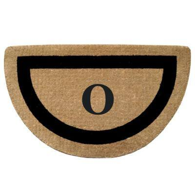 Single Picture Frame Black 22 in. x 36 in. HeavyDuty Coir Half Round Monogrammed O Door Mat
