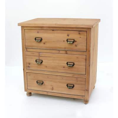 Brown Wood 3-Drawer Storage Cabinet