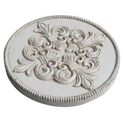 12 in. Dia x 1 in. H Composite Fleur de Lis Stepping Stones in Aged White (Set of 3)