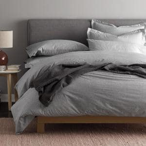 LoftHome Maze Gray Geometric Organic Cotton Percale King Duvet Cover