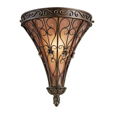 Marchesa 1-Light Terrene Bronze Wall Sconce with Piastra Glass Shade