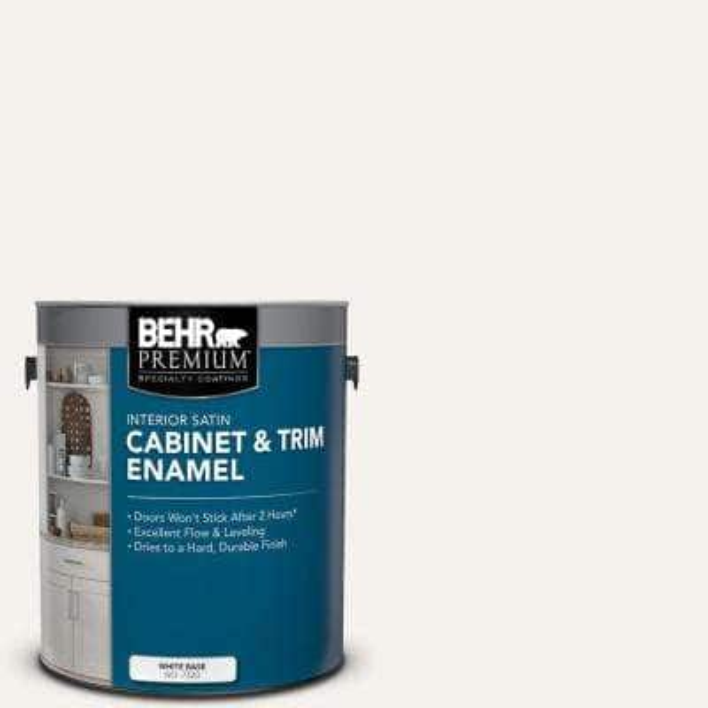 1 gal. #PR-W14 Bit of Sugar Satin Enamel Interior Cabinet and Trim Paint