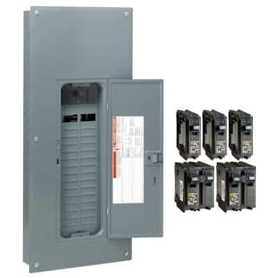 Homeline 200 Amp 30-Space 60-Circuit Indoor Main Breaker Qwik-Grip Plug-On Neutral Load Center with Cover - Value Pack