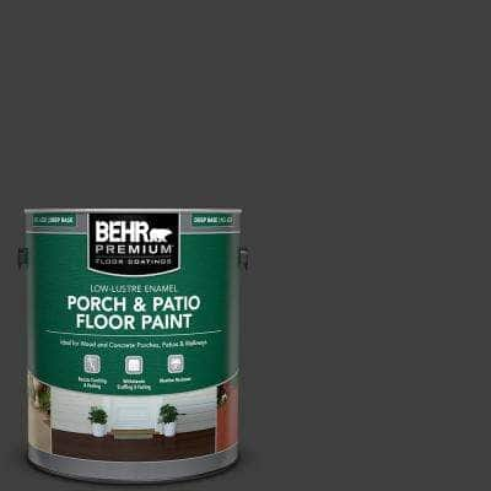 1 gal. #ECC-10-2 Jet Black Low-Lustre Enamel Interior/Exterior Porch and Patio Floor Paint
