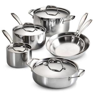 Gourmet Tri-Ply Clad 10-Piece Stainless Steel Cookware Set