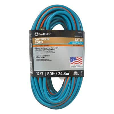 80 ft. 12/3 SJTW Outdoor Heavy-Duty Extension Cord with Power Light Plug, Teal/Orange