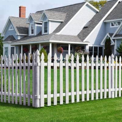 1/2 in. x 3-1/2 in. x 3-1/2 ft. Cedar French Gothic Primed White Fence Picket (14-Pack)