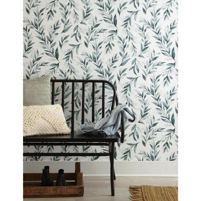 Olive Branch Floral Paper Strippable Wallpaper Roll (Covers 56 Sq. Ft.)