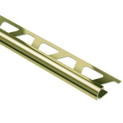 Rondec Polished Brass Anodized Aluminum 1/4 in. x 8 ft. 2-1/2 in. Metal Bullnose Tile Edging Trim