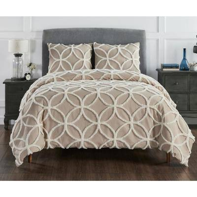 Wedding Ring 2-Tone 3-Piece Taupe/Ivory Queen 100% Cotton Comforter Set