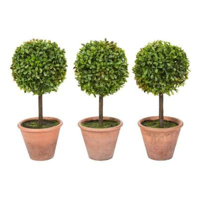 11.5 in. Faux Boxwood Topiary Arrangements with Decorative Pots (Set of 3)