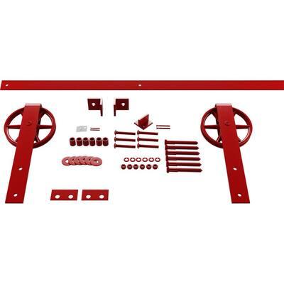 1-5/8 in. x 48 in. x 13-5/8 in. Steel Premium Wagon Wheel Strap Barn Door Hardware Set Moulding Regal Red