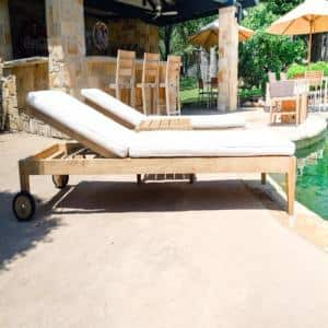 Teak Outdoor Patio 3-Piece Set with White Sunbrella Chaise Loungers and Side Table