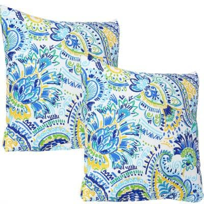 17 in. x 17 in. Outdoor Decorative Throw Pillows in Aqua Paisley (Set of 2)