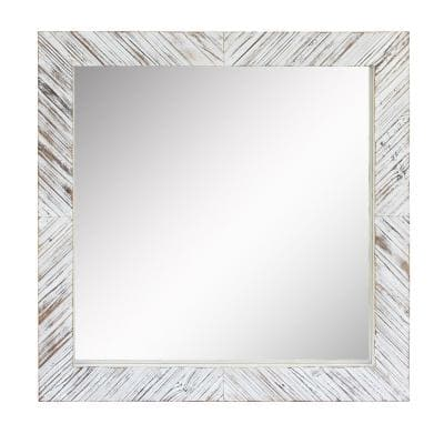 20in x 20in Cottage Style Square White Textured Wood Framed Accent Mirror