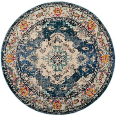 Monaco Navy/Light Blue 9 ft. x 9 ft. Round Area Rug