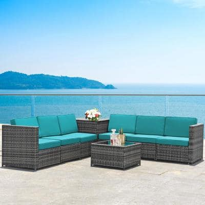 8-Piece Rattan Sofa Sectional Patio Conversation Furniture Set with Turquoise Cushion